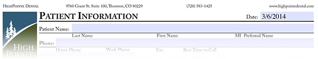 Image of part of the New Patient Form for HighPointe Dental in Thornton, CO
