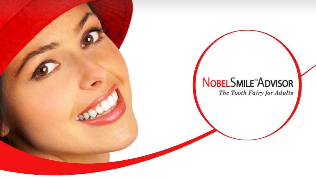 Image of the smile advisor logo with a woman smiling with new teeth to replace missing teeth.
