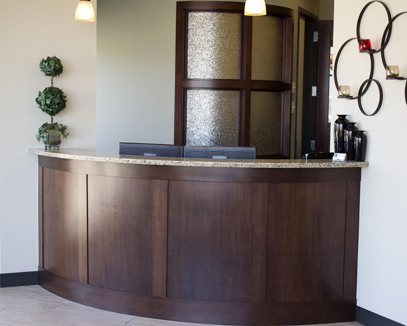 Image of the front desk at HighPointe Dental in Thornton, CO.
